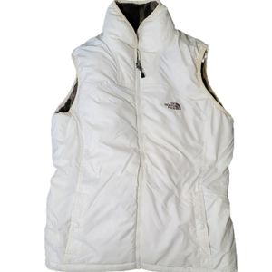 Northface Mossbud Reversible Vest White Gray Fur